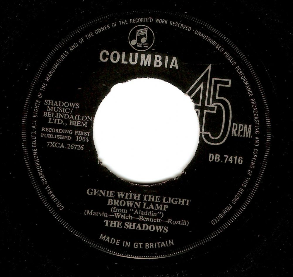 THE SHADOWS Genie With The Light Brown Lamp Vinyl Record 7 Inch Columbia 1964